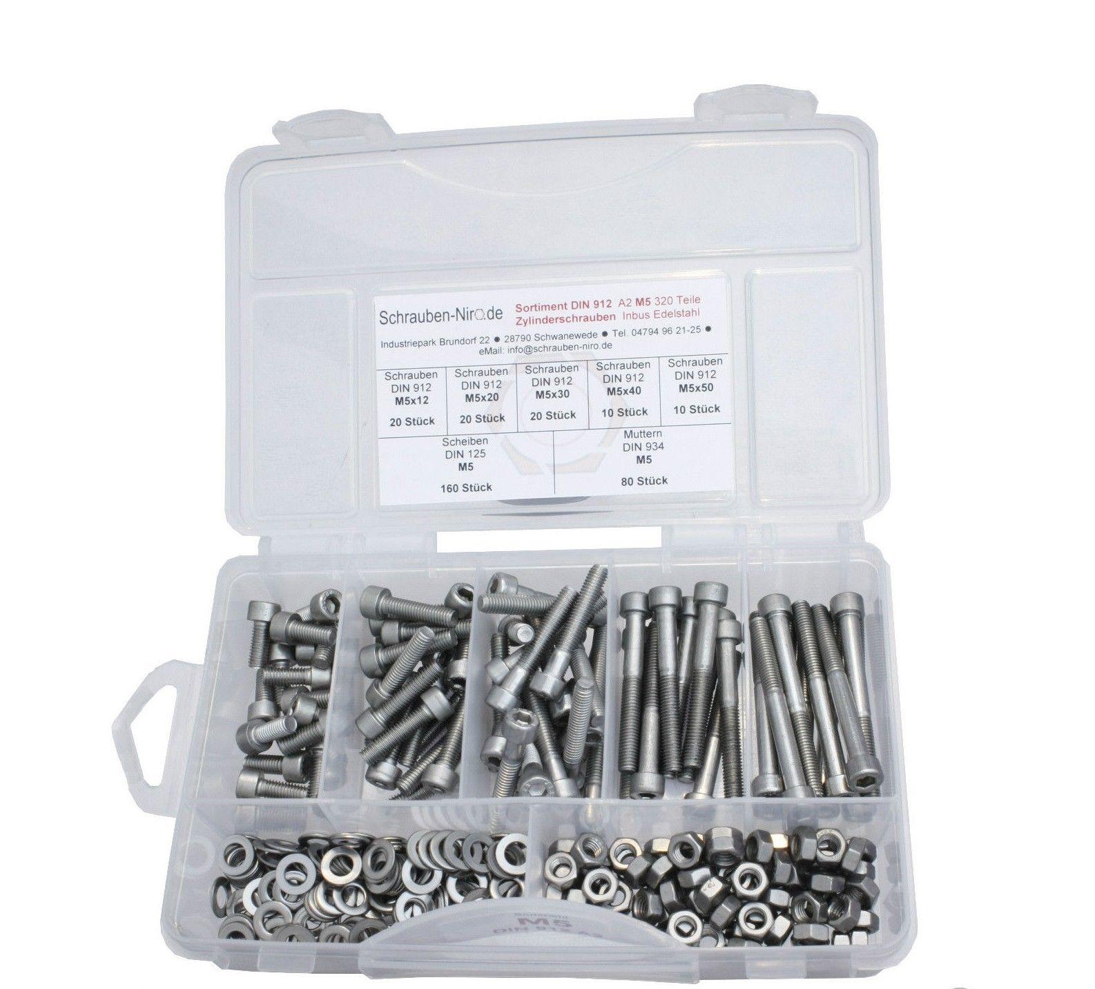Schrauben-Niro® Basic Sortimente//Sets Zylinderschrauben DIN 912 M2-M12